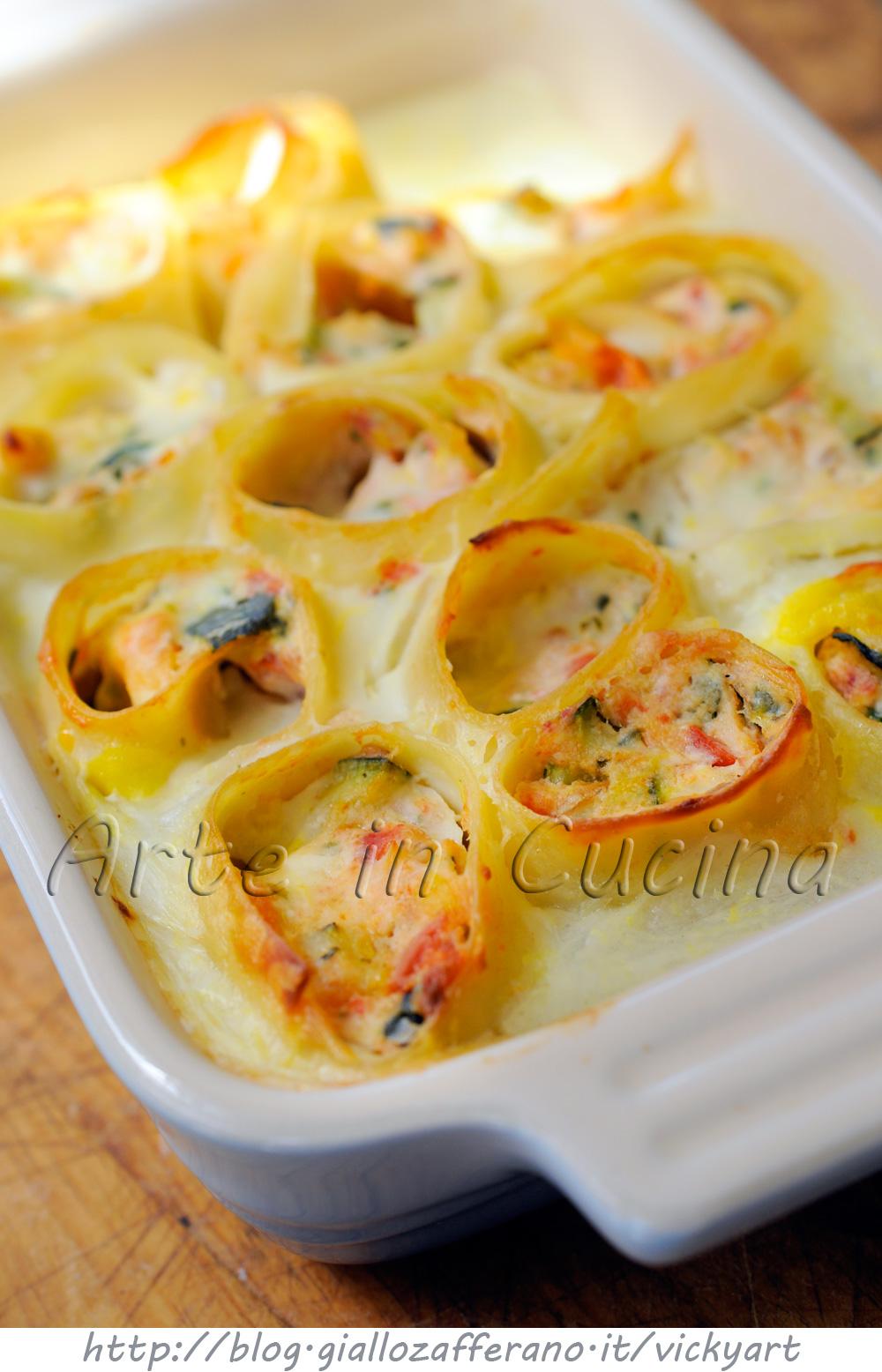 Rotolini di pasta ripiena ai frutti di mare e ricotta vickyart arte in cucina