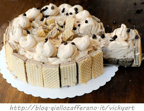 Torta wafer al tiramisu senza cottura dolce veloce