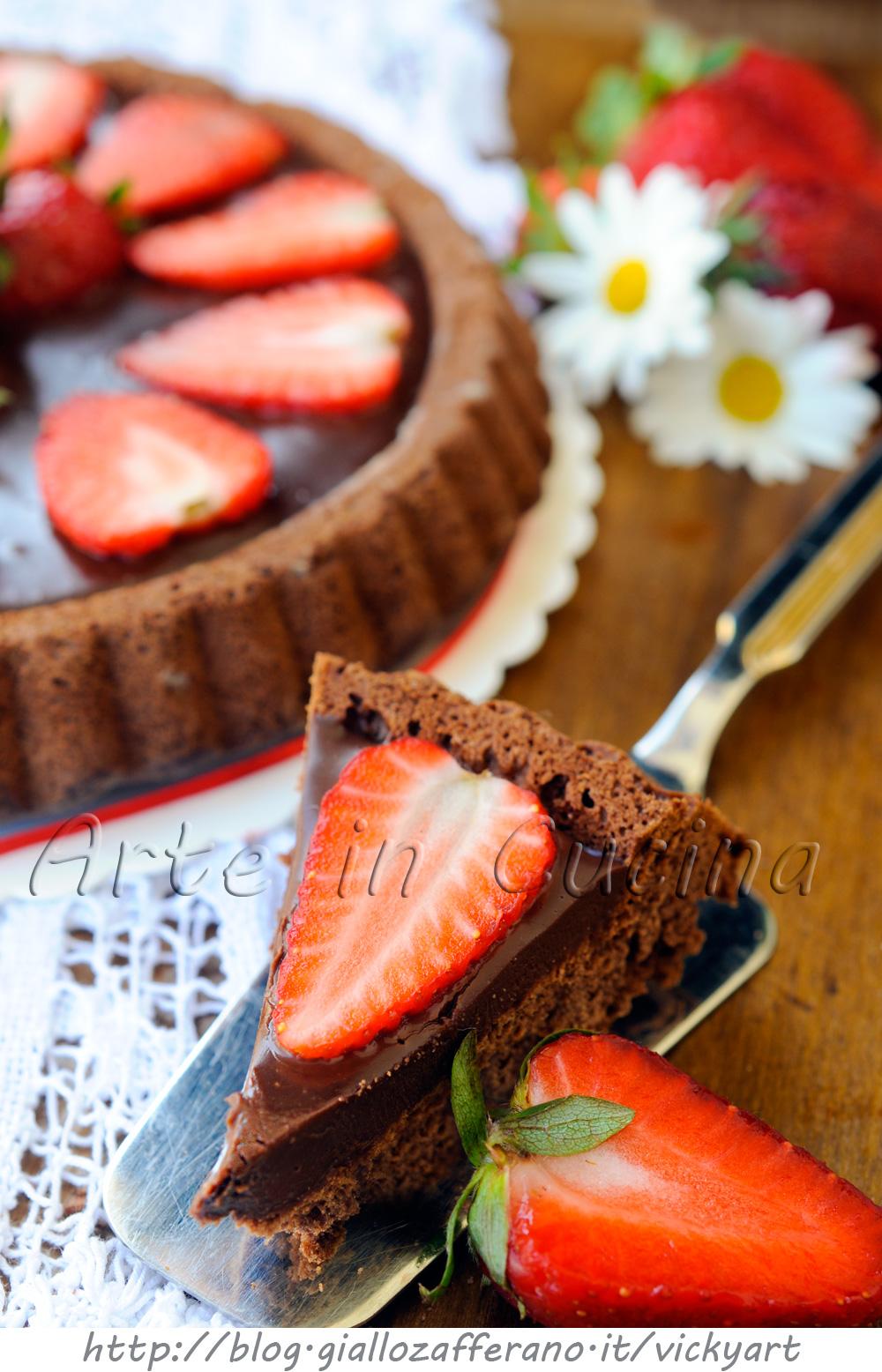 Crostata soffice al cioccolato con ganache e fragole vickyart arte in cucina