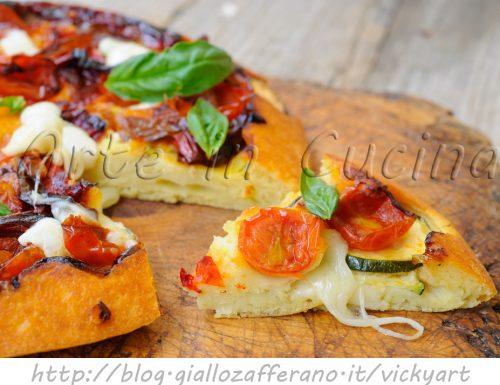 Focaccia rovesciata salata veloce con pomodorini e zucchine