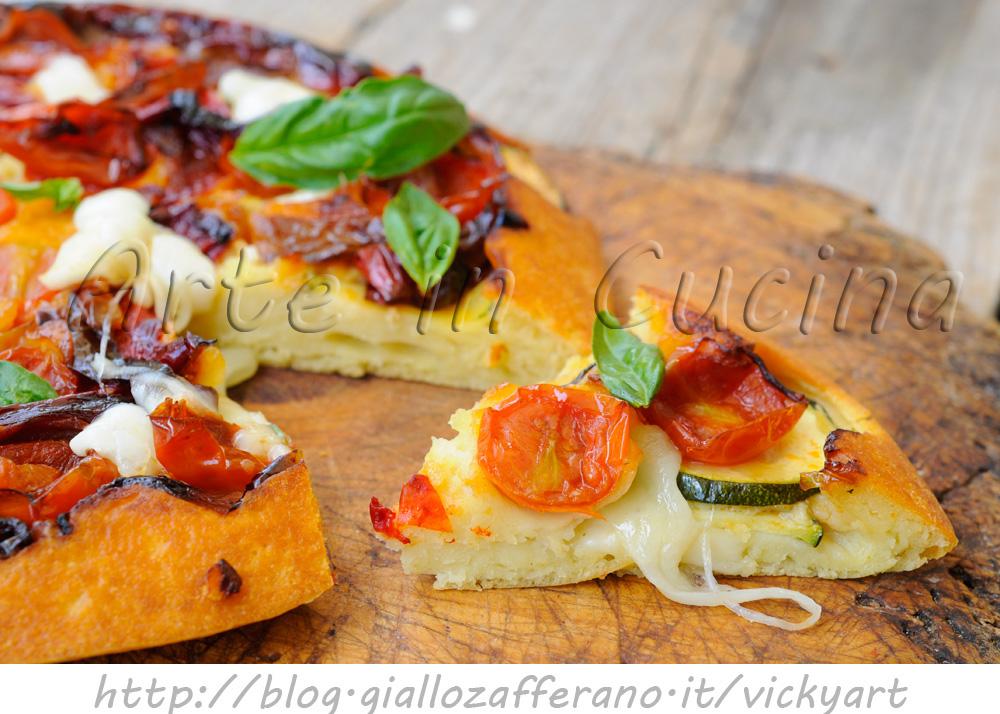 Focaccia rovesciata salata veloce con pomodorini e zucchine vickyart arte in cucina