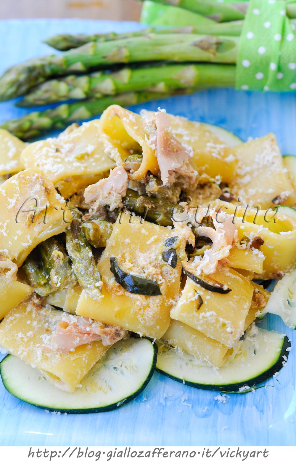 Pasta con asparagi zucchine e prosciutto vickyart arte in cucina