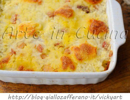 Riso gratinato in bianco al forno salumi e formaggio