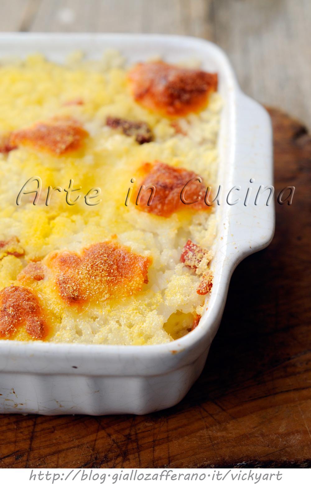 Riso gratinato in bianco al forno salumi e formaggio vickyart arte in cucina