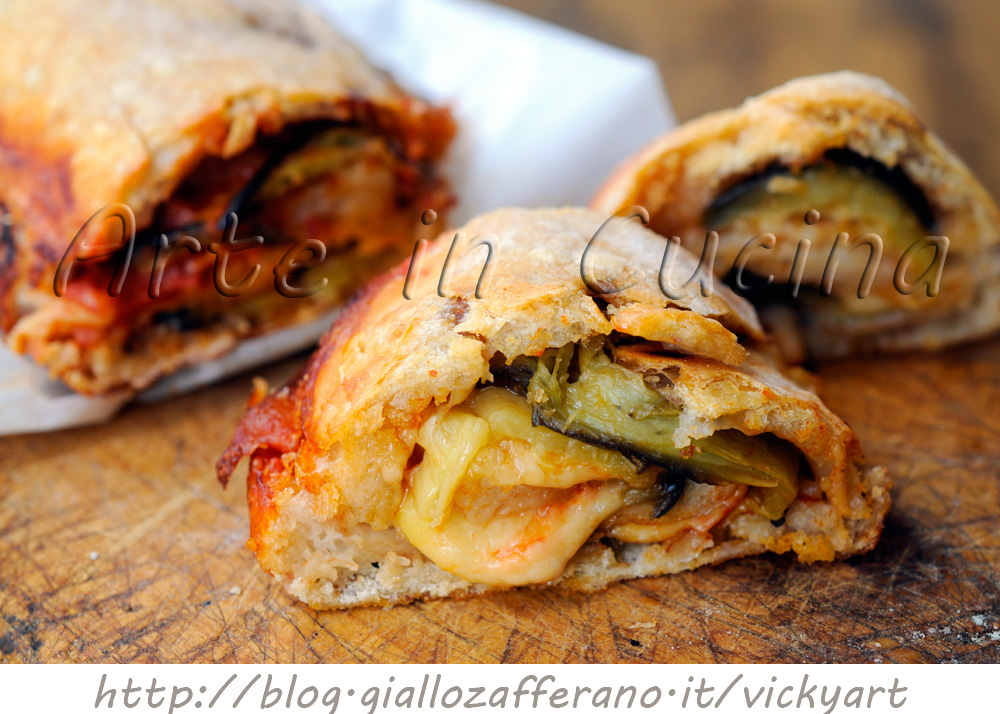 Rotolo pizza con melanzane alla parmigiana vickyart arte in cucina