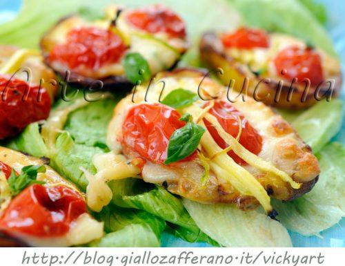 Bruschette di patate grigliate con zucchine e provola