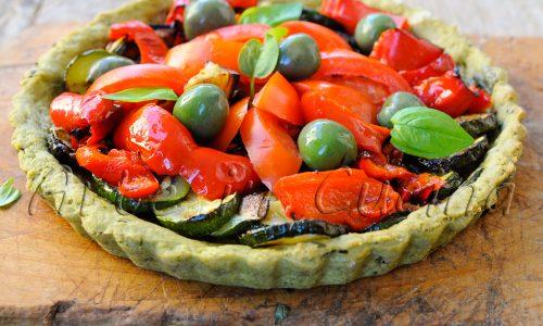 Crostata al basilico con verdure grigliate facile veloce