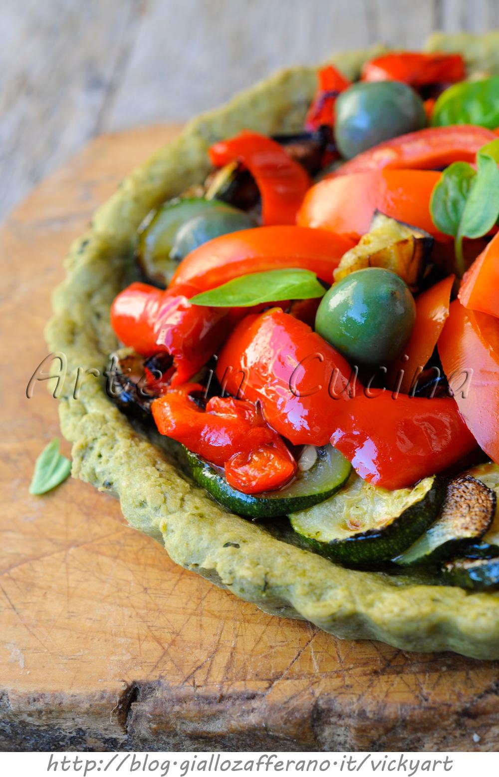 Crostata al basilico con verdure grigliate ricetta facile e veloce vickyart arte in cucina