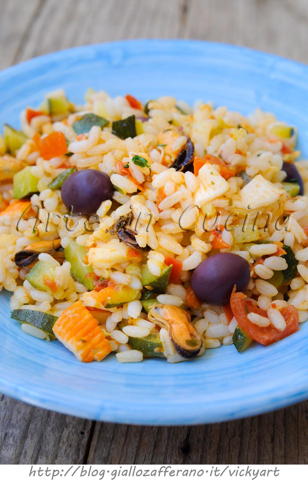 Insalata di riso con frutti di mare e zucchine vickyart arte in cucina