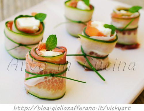 Involtini di cetriolo prosciutto e gorgonzola