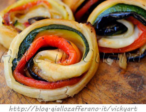 Rotolini di sfoglia con verdure grigliate finger food