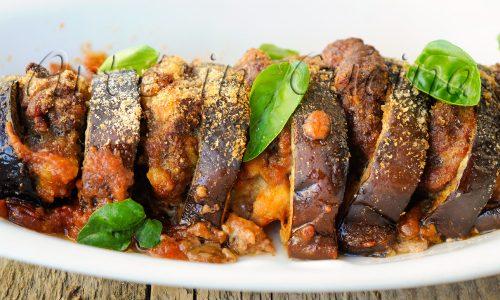Teglia di melanzane e carne macinata al forno