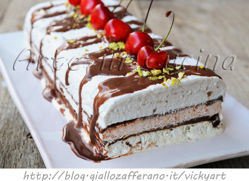 Torta gelato alle ciliegie pistacchio cioccolato e banana vickyart arte in cucina