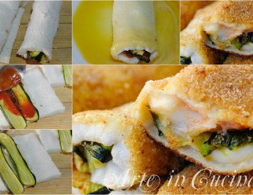Cannoli di pancarrè con zucchine in padella