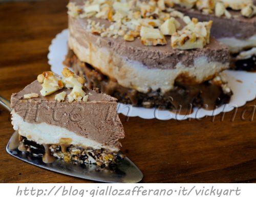 Cheesecake al mou stracciatella e cioccolato ricetta dolce