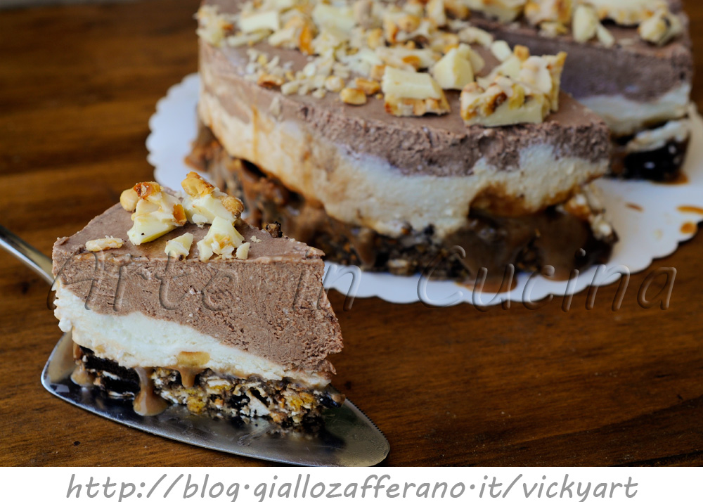 Cheesecake al mou stracciatella e cioccolato ricetta dolce vickyart arte in cucina