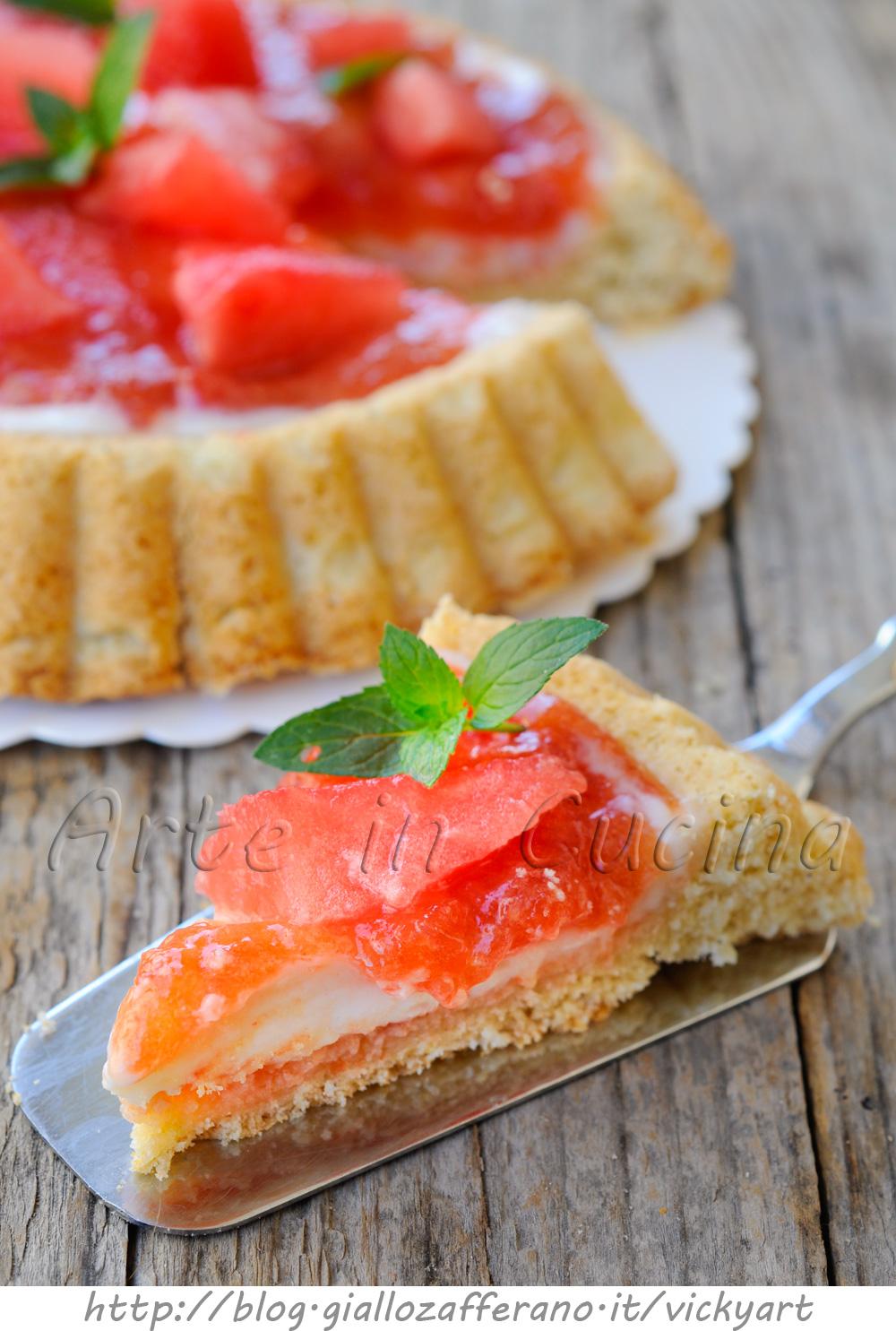 Crostata all'anguria con marmellata e mascarpone vickyart arte in cucina