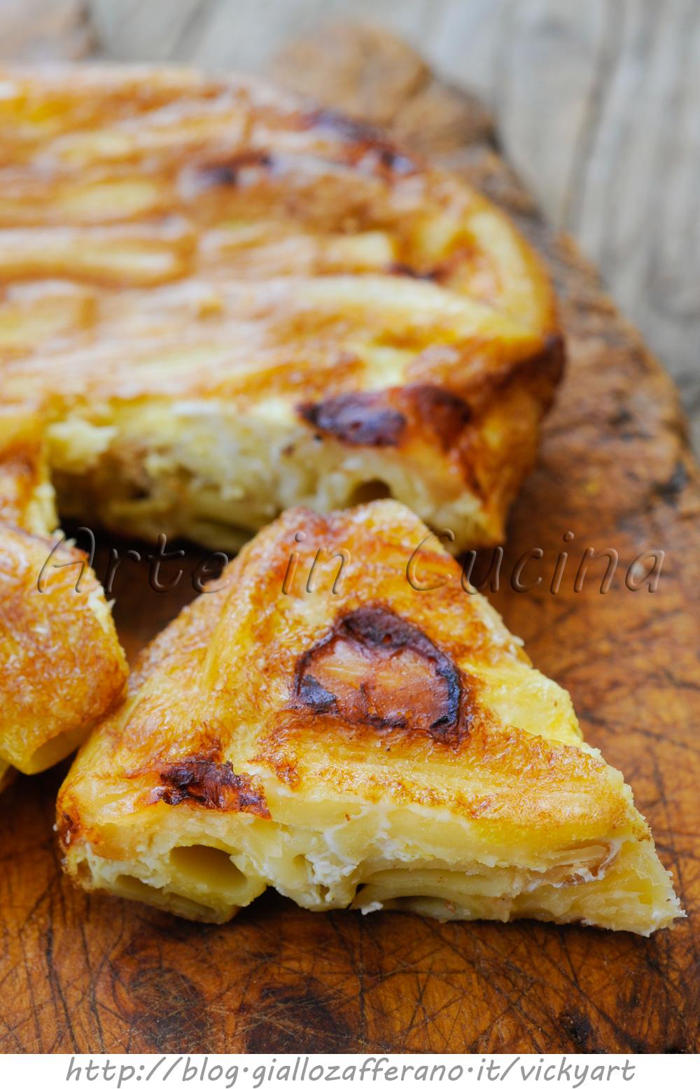 Frittata di maccheroni e formaggio in padella vickyart arte in cucina