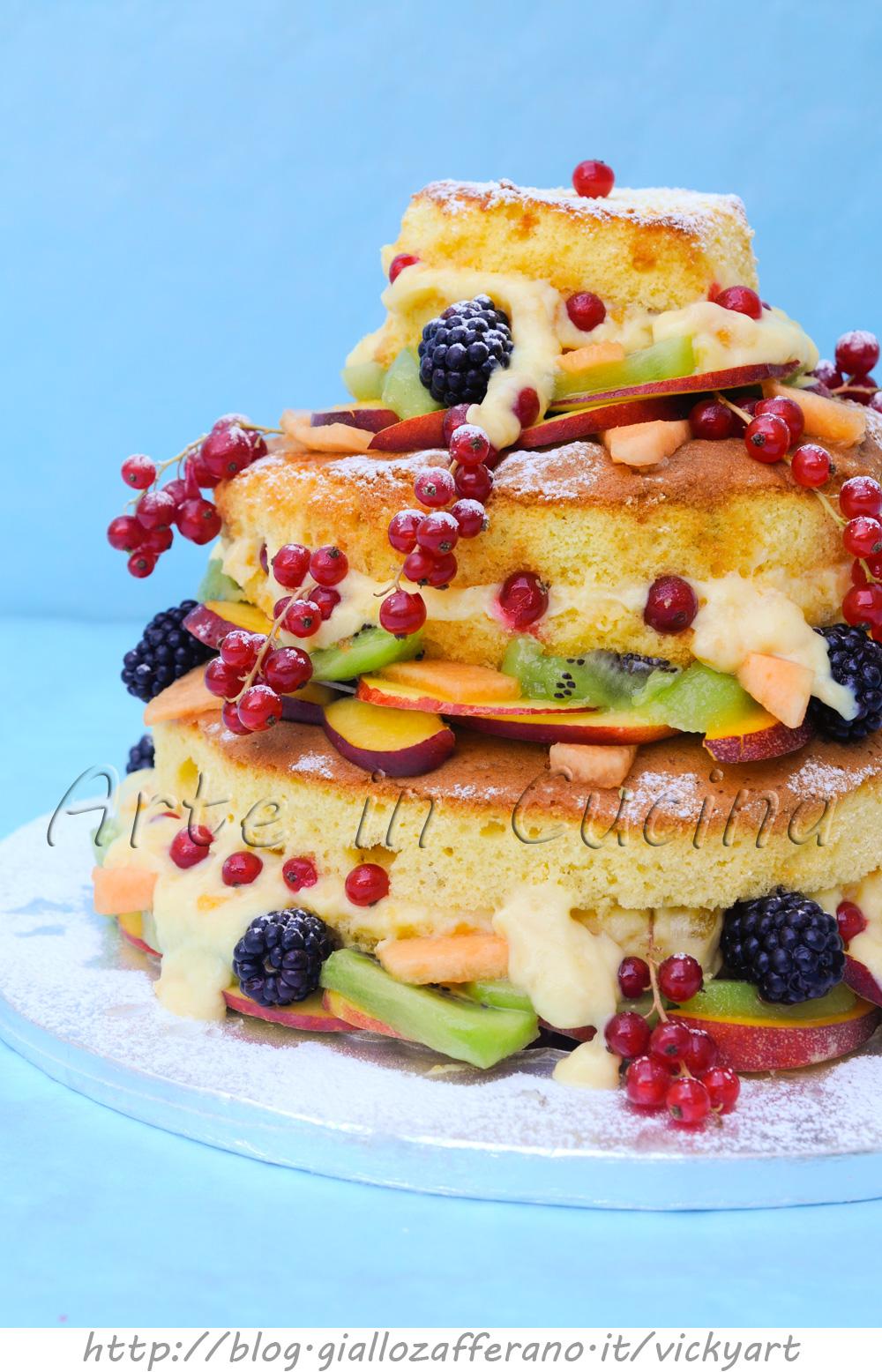 Naked cake alla crema e marmellata con frutta arte in cucina for Piani a 2 piani