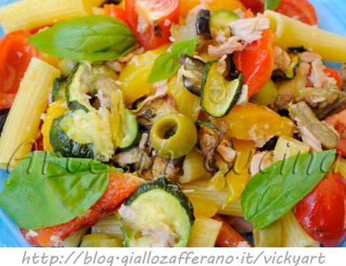 Pasta fredda con tonno e verdure grigliate
