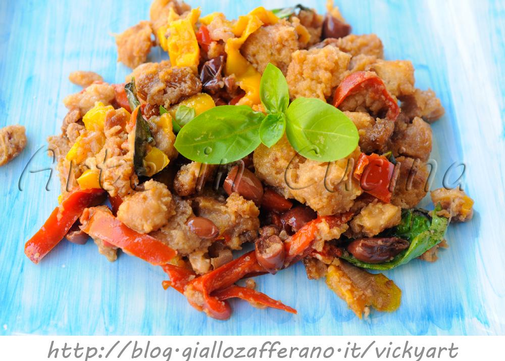 Peperoni con mollica e olive in padella ricetta contorno facile vickyart arte in cucina
