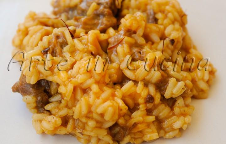 Risotto con carne e zafferano ricetta primo piatto facile