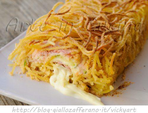 Rotolo di spaghetti ripieno polpettone di pasta veloce