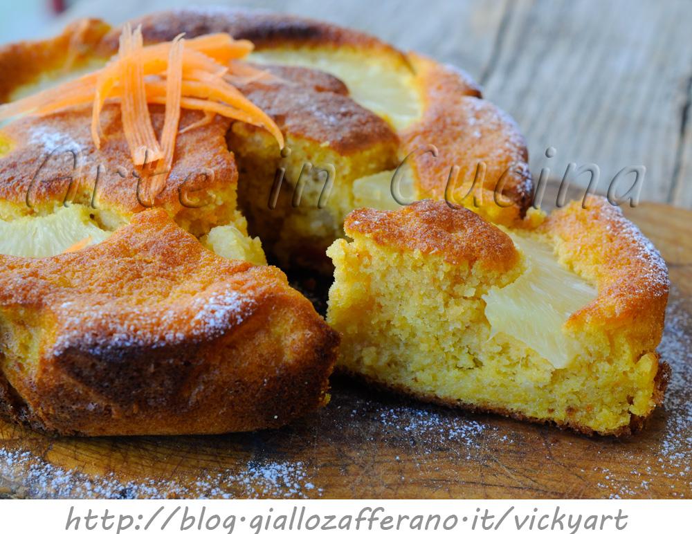 Torta di ananas e carote ricetta dolce facile e veloce vickyart arte in cucina