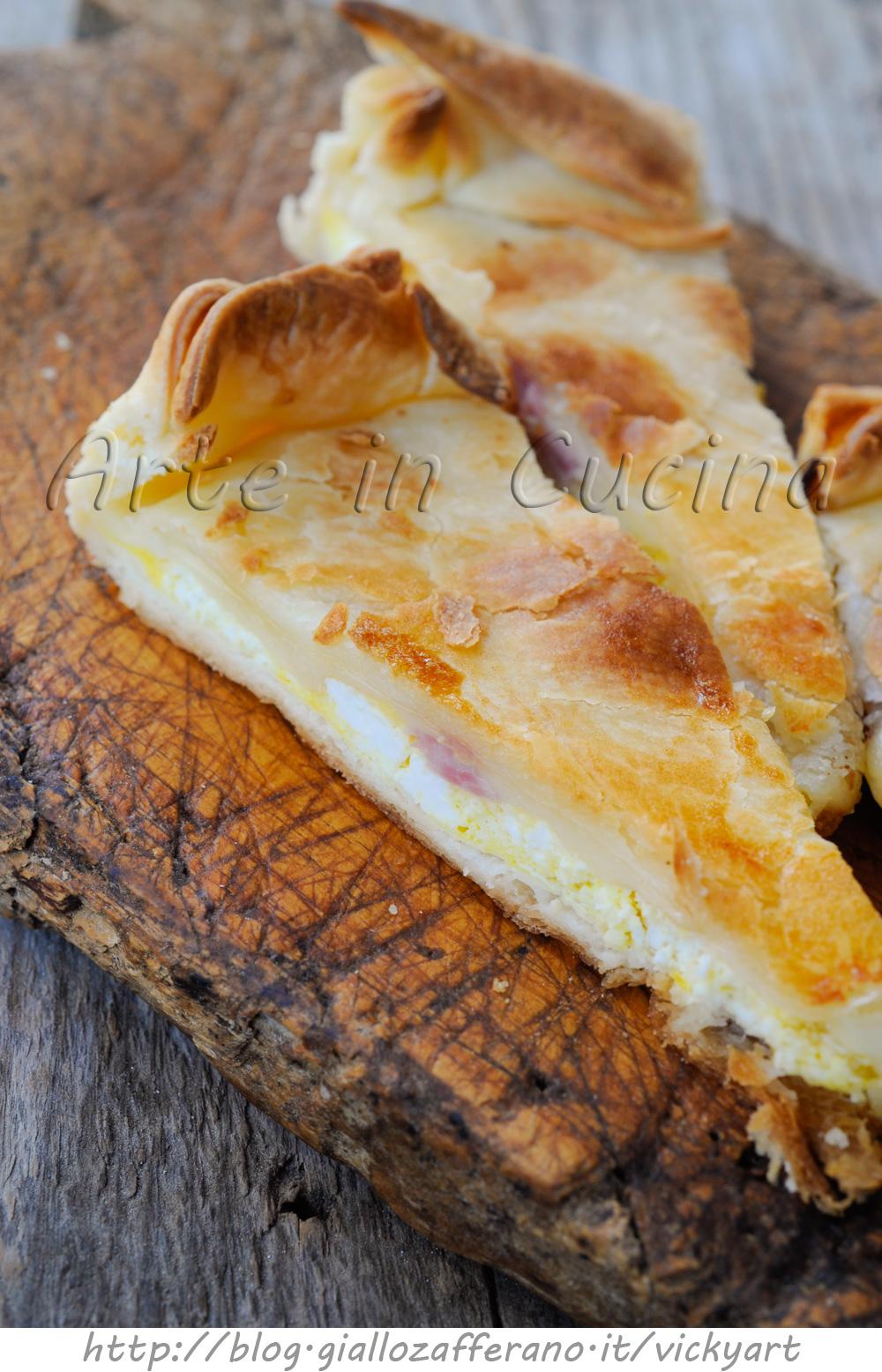 Torta di pasta brisè con ricotta e prosciutto ricetta facile vickyart arte in cucina