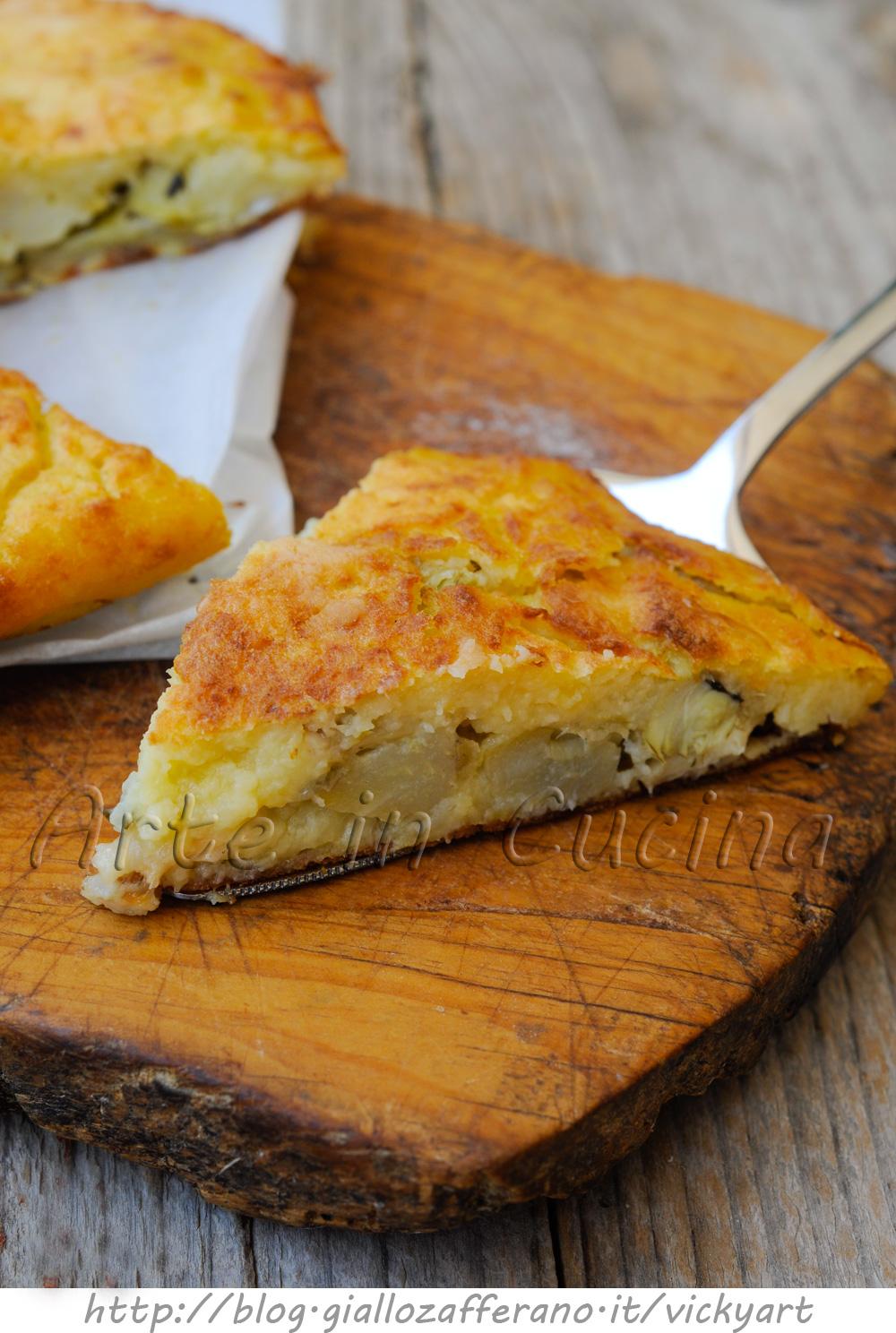 Torta di patate e carciofi salata ricetta saporita vickyart arte in cucina