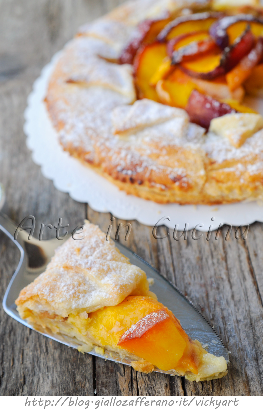 Torta sfogliata alla crema e pesche ricetta dolce arte in cucina - Cucina macrobiotica dolci ...