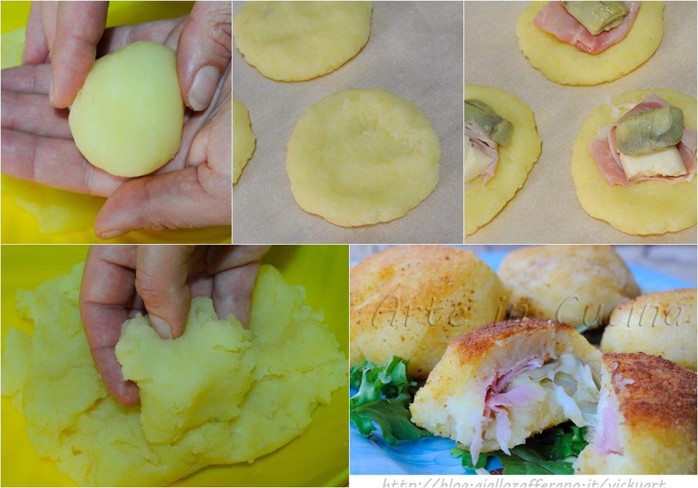 Bomboloni di patate salati ripieni con carciofi e asiago vickyart arte in cucina