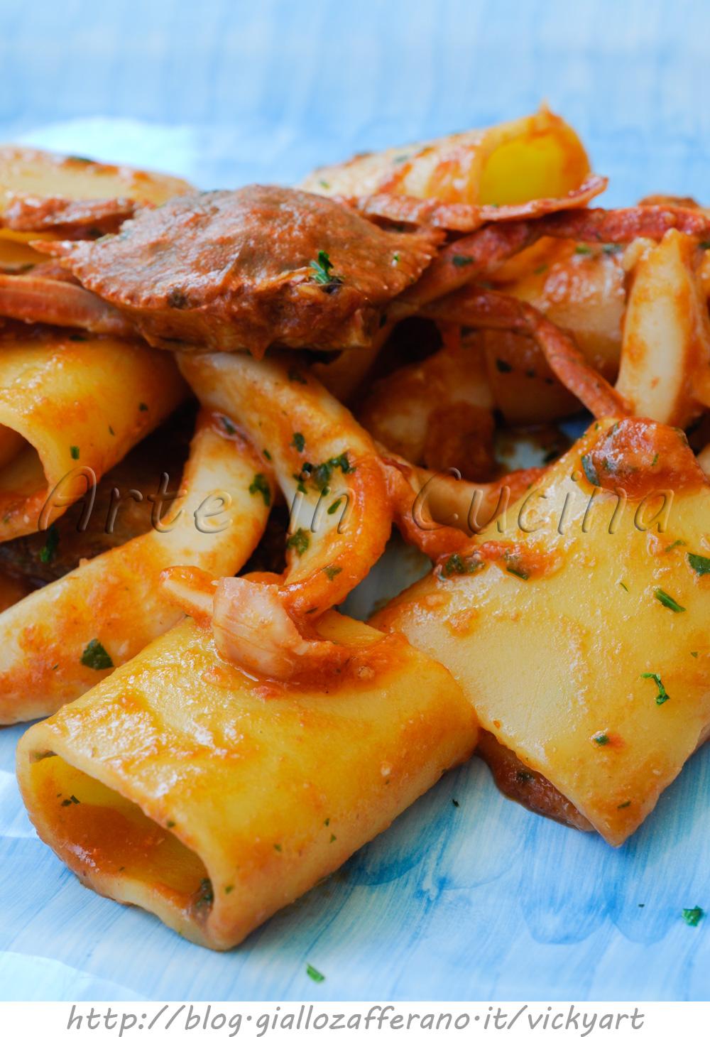 Paccheri con seppie e granchi ricetta primo facile vickyart arte in cucina
