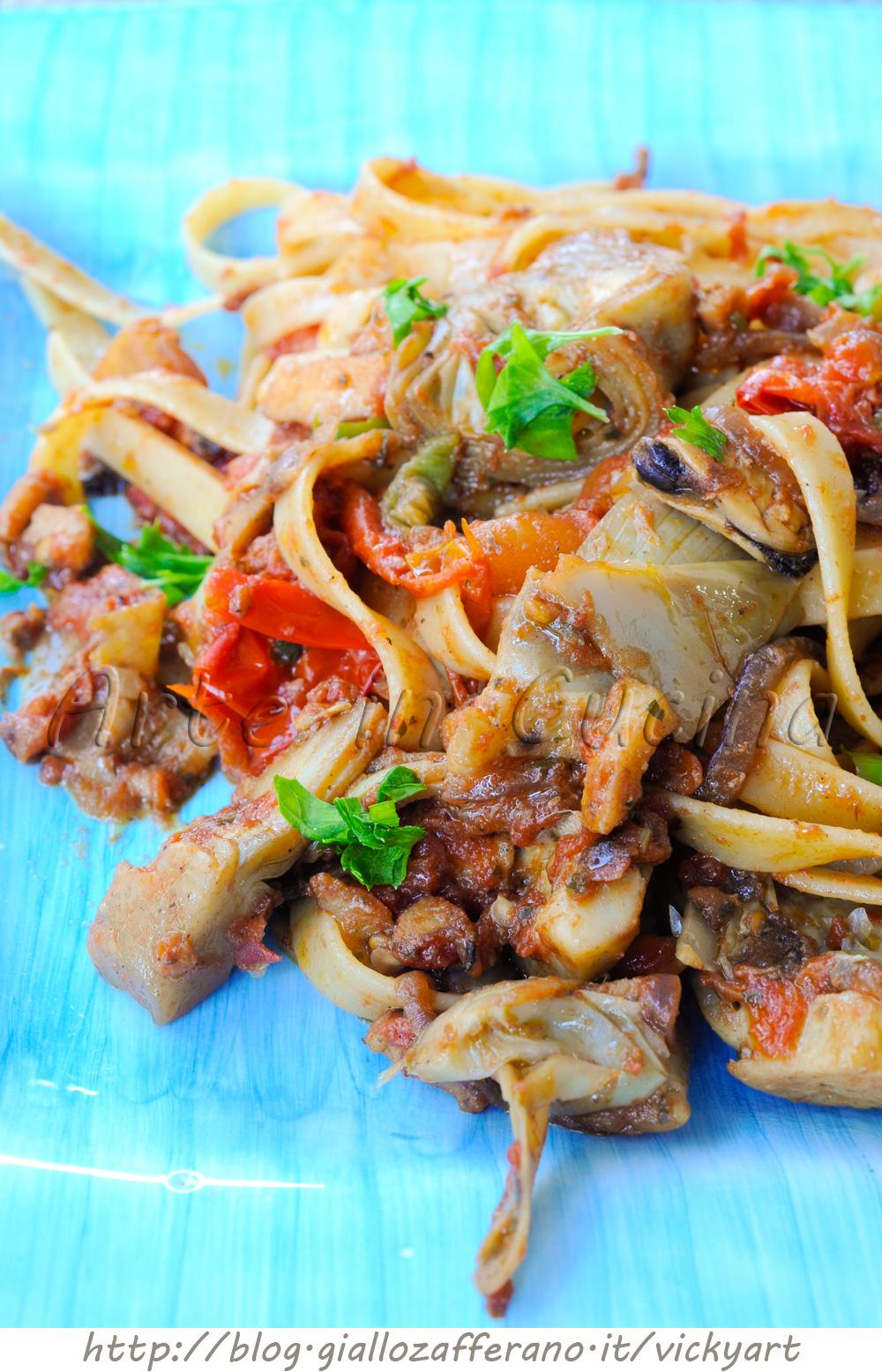 Pasta ai frutti di mare e carciofi ricetta facile vickyart arte in cucina