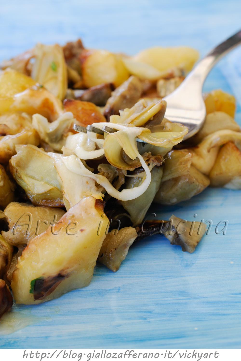 Carciofi e patate con scamorza in padella vickyart arte in cucina