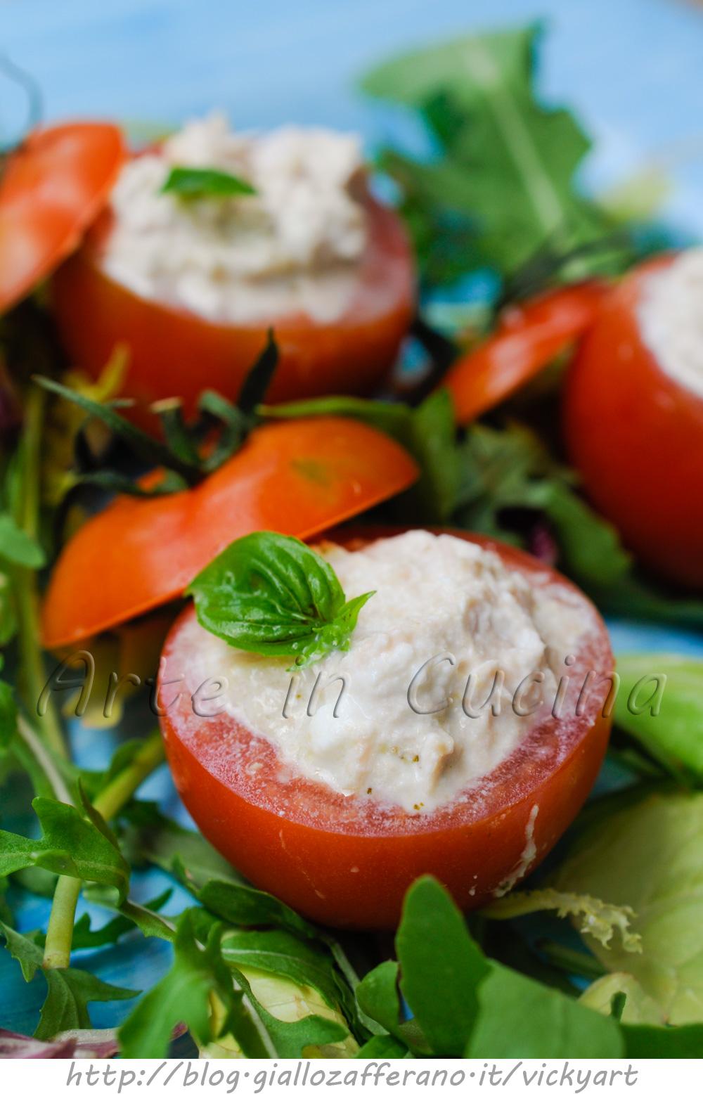 Pomodori ripieni freddi senza maionese con tonno e ricotta vickyart arte in cucina