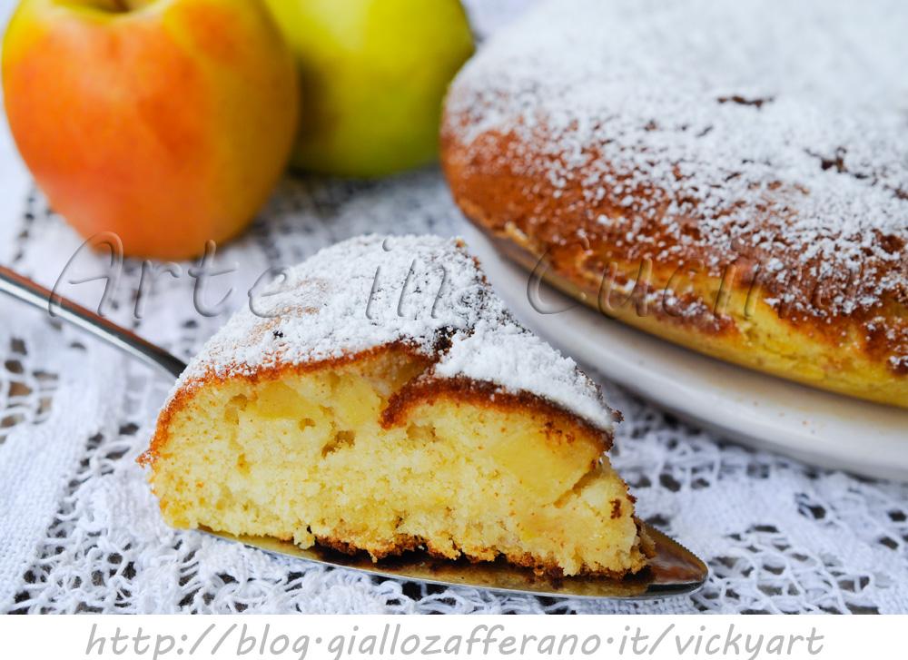 Torta in padella con mele e mandorle ricetta veloce vickyart arte in cucina