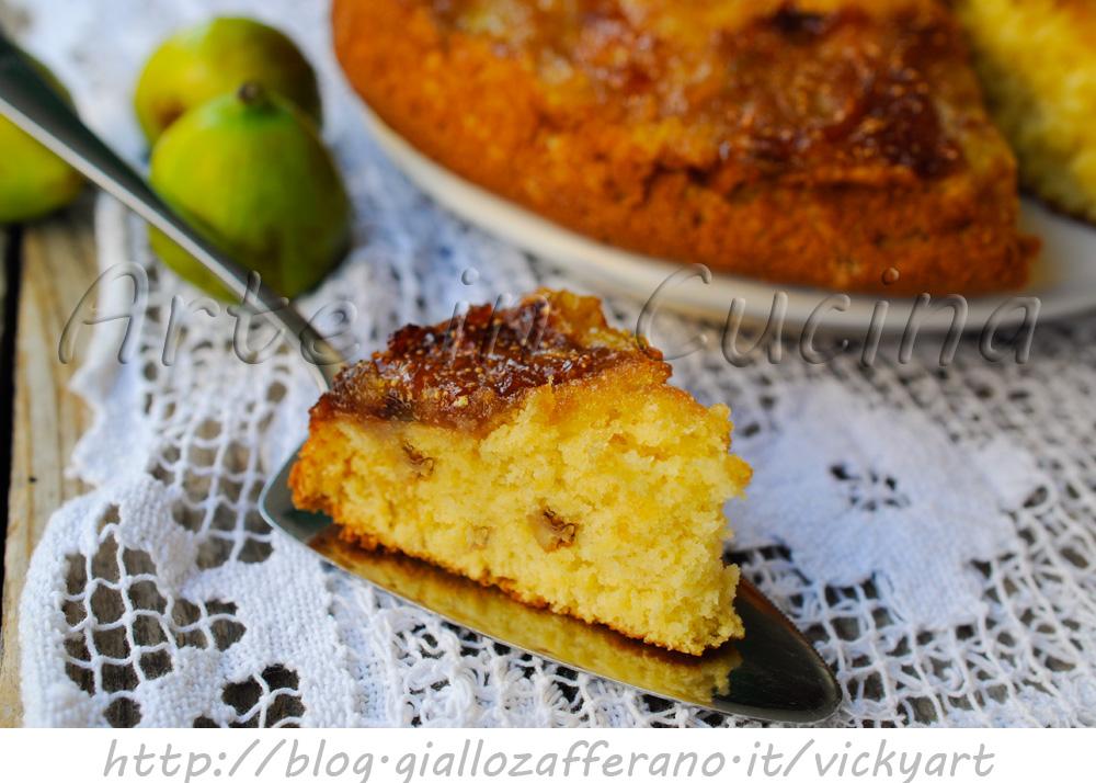 Torta rovesciata ai fichi e noci ricetta dolce veloce