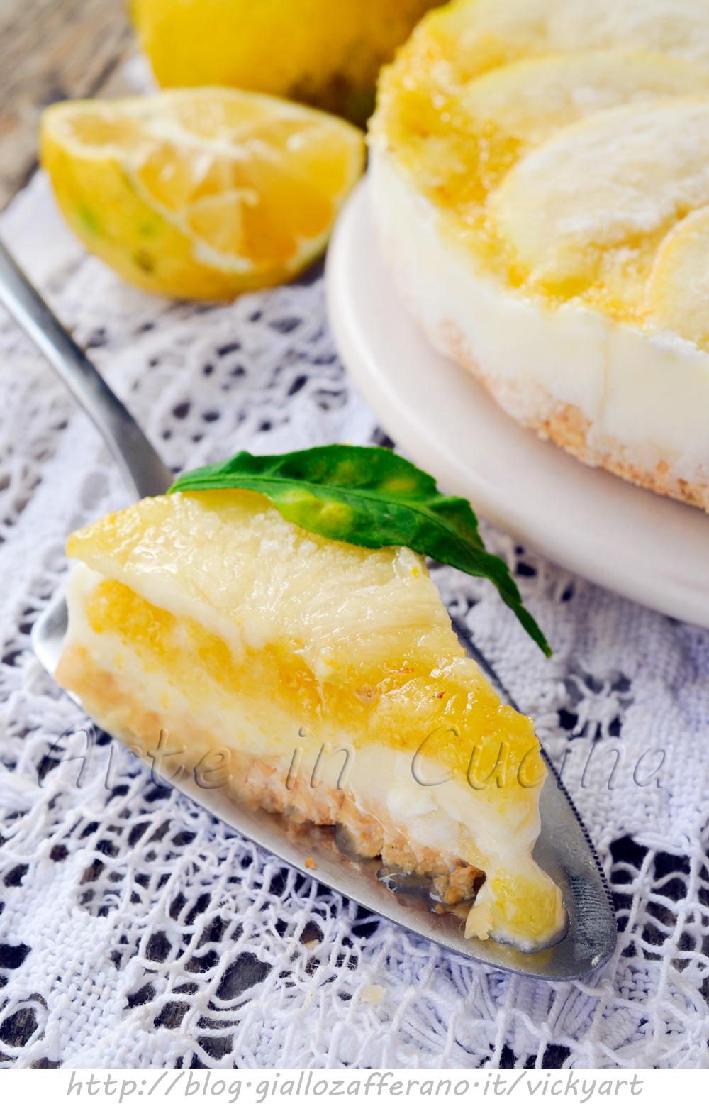 Torta senza cottura al limone ricotta e mandorle vickyart arte in cucina