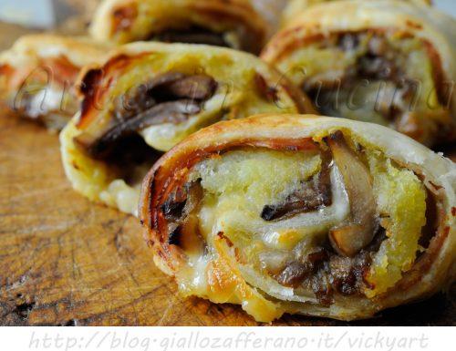 Girelle di sfoglia ai funghi e patate ricetta antipasto