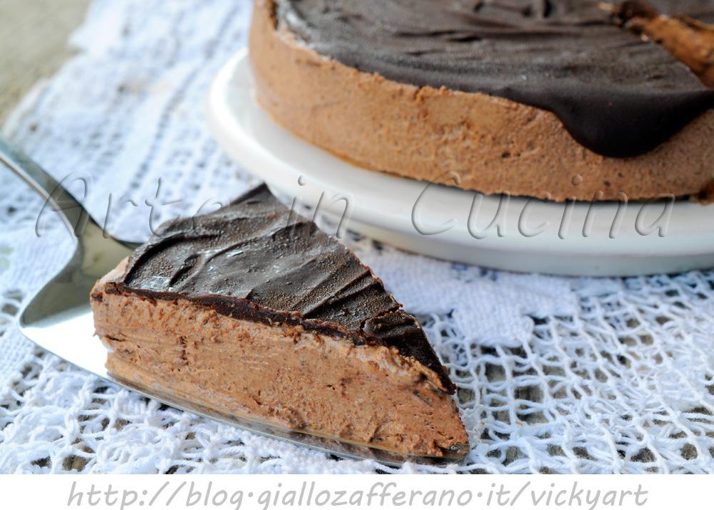 Torta mousse al cioccolato ricetta semifreddo facile vickyart arte in cucina