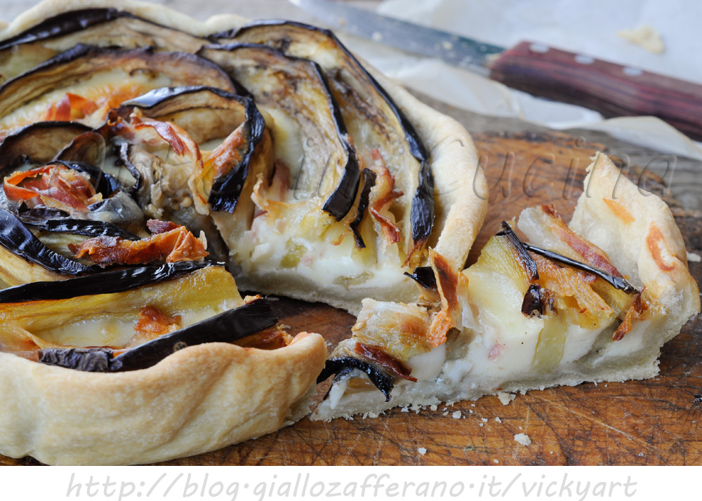 Torta salata con melanzane provola e pancetta vickyart arte in cucina