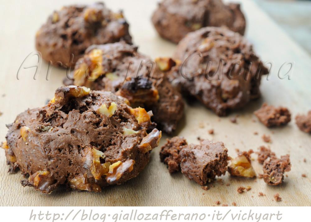 Biscotti morbidi al cacao e noci senza burro e uova vickyart arte in cucina