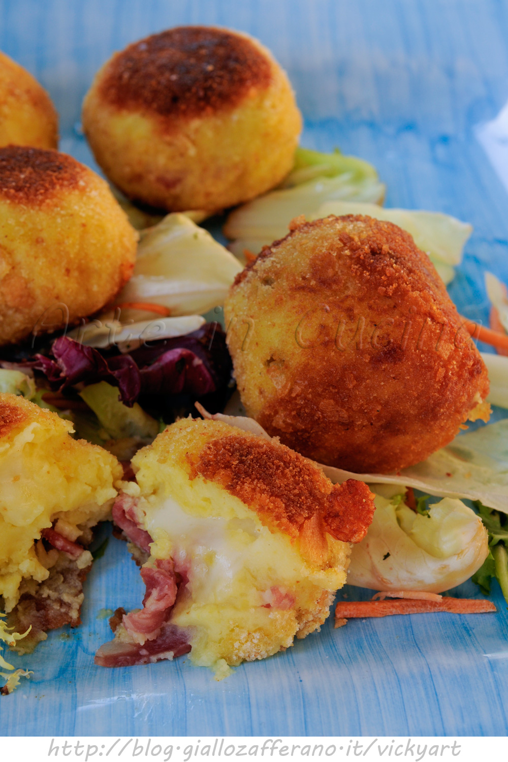 Bomboloni di patate olive e salame ricetta sfiziosa vickyart arte in cucina