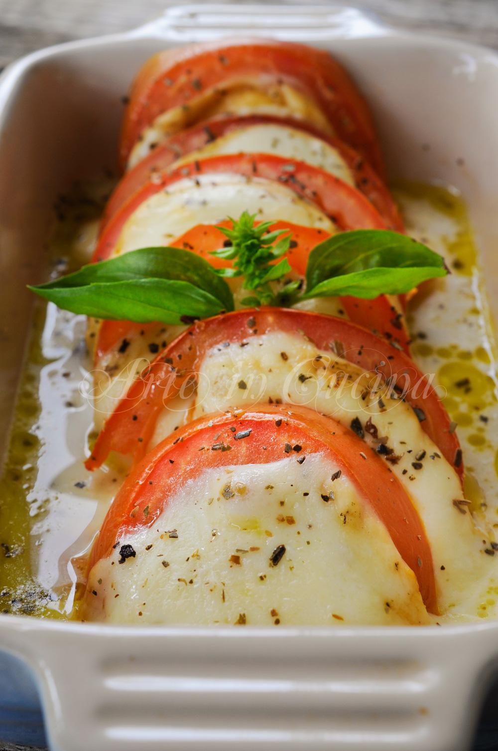 Caprese al forno ricetta secondo veloce vickyart arte in cucina