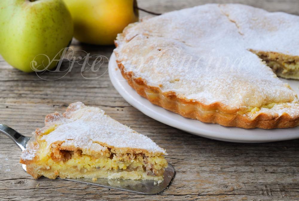 Crostata ripiena crema di arancia mele e nocciole vickyart arte in cucina
