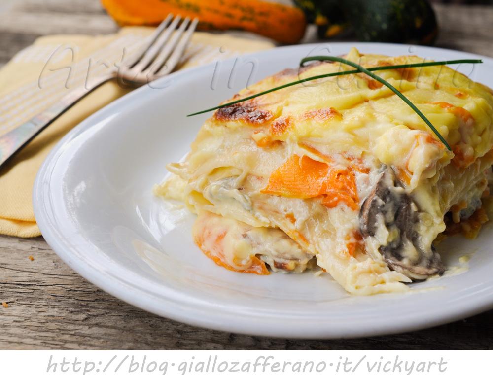 Lasagne con zucca gorgonzola e funghi in salsa mornay vickyart arte in cucina