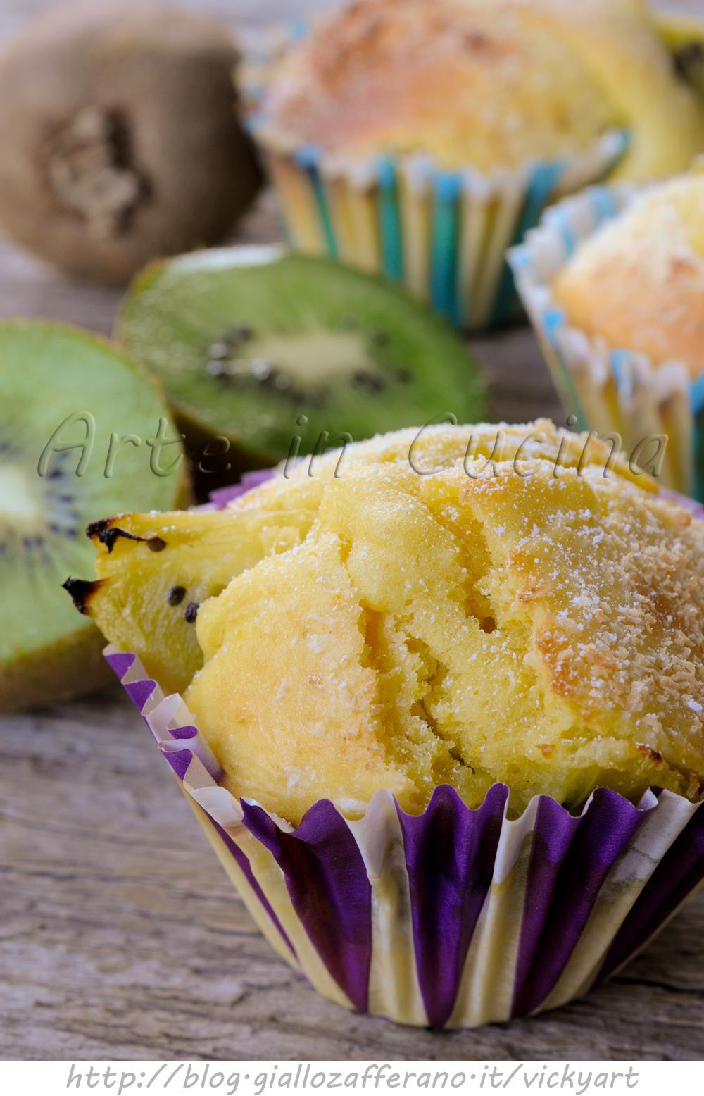 Muffin ai kiwi e cocco ricetta dolce veloce vickyart arte in cucina