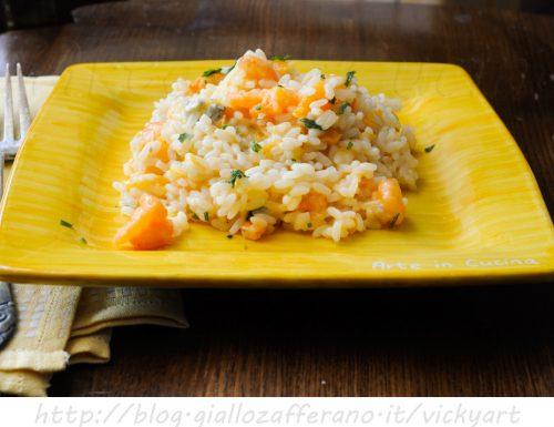 Risotto zucca gorgonzola e gamberetti