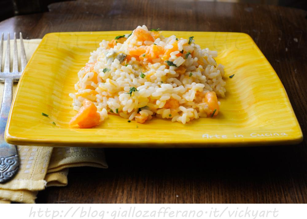 Risotto zucca gorgonzola e gamberetti vickyart arte in cucina